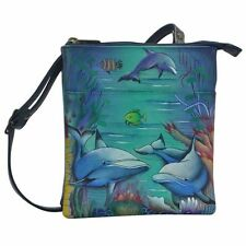 "Anuschka #596 DWD ""DOLPHIN WORLD"" RFID Blocking Triple Organizer 7""x8""x3.75"" NWT"