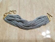 Adami and Martucci Medium Braided Silver Mesh Fabric Bracelet One Size
