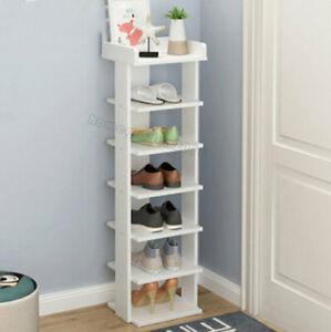 7 Tier Thin Shoe Rack Storage Organiser Stand Holder Shelf Hallway Porch Gate