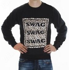 Uomo Donna Unisex Felpa RAGLAN SWAG slogan Leopardo Animal Print Taglia S