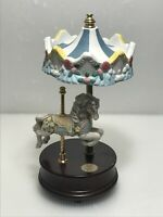 Vtg Giftec Carousel Collections 1993 Moving Floral Carousel Horse Music Box
