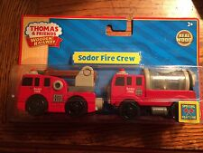 Sodor Fire Crew Hook/Ladder & Water Tanker New in Pkg Thomas Wooden Railway READ