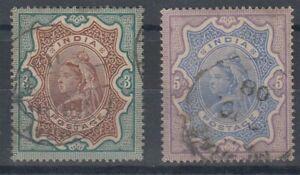 INDIA 1895 QV 3r & 5r PAIR USED (ID:811/D61183)