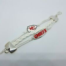 NFL Kansas City chiefs white and red Tri Braid Bracelet team spirit football