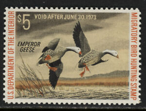 SCOTT RW39 1972 $5 EMPEROR GEESE DUCK STAMP ISSUE MNH OG VF CAT $30!