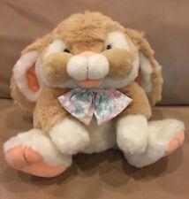 Commonwealth Tan Easter Plush CHEEKY Bunny Rabbit Floral Bow 1992 Stuffed RARE
