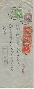 China 1940 cover from Peking to Sunnyside Washington with US Postage due stamps