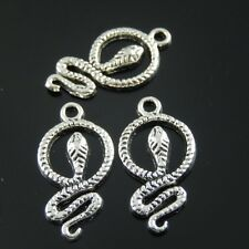 20 pcs lot Vintage Silver Metal Snake Charm For Earring Necklace Pendant Jewelry