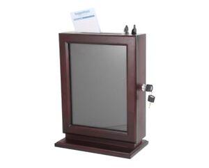 AdirOffice Mahogany Wood Customizable Glass Suggestion Box