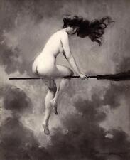 "Albert Joseph Penot Departure for the Sabbath 1910 Witch Broomstick Nude 6x5"""