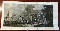 Captain Cook So. Pacific New Hebrides island landing scene 1800 engraved print
