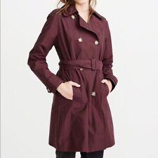Abercrombie & Fitch Womens Classic Trench Coat Size SMALL Burgundy Red Belted