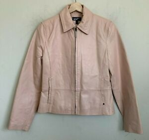 Black Rivet Womens Moto Jacket Baby Pink Leather Zip Front Pockets Lined Size S
