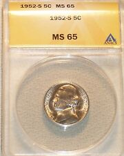 1952-S JEFFERSON NICKEL ANACS GRADED MS65  VERY NICE !