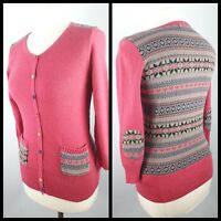 Per Una M&S Size 10 Pink Multicoloured Fitted Knitted Cardigan 3/4 Sleeve