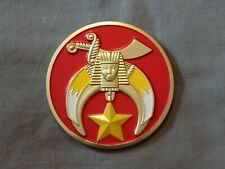 "Masonic 3"" Red Car Emblem Scimitar Crescent Shriner Metal Freemason NEW!"