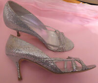 LK Bennett UK7 EU40 US9 silver sparkly Sisco sandals with little wear - boxed