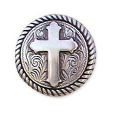 """Western Equestrian Tack Antique Silver Rope/Cross 1"""" Concho's Set of 6"""