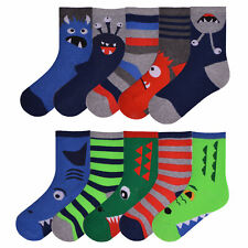 Boys 10 Pairs Ankle Socks Childrens Character Coloured Bright Design Socks