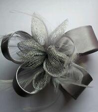 Beautiful Grey  feather & flower design facinator wedding/005
