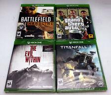 (4 Game Lot) Evil Within,Grand Theft Auto V Prem,Titanfall 2,Hardline Us Sealed