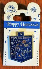 Disney Happy Hanukkah Pin JOY AND LIGHTS Mickey Dreidel Silver Blue