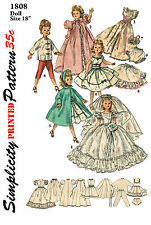Vintage Simplicity 1808  18 inch doll Miss Revlon, etc Clothes sewing patterns