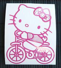 HOT SALE Adesivo Hello Kitty con bicicletta on bike wall sticker decal vynil