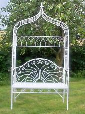 Milk white garden arch and bench.