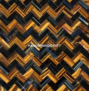 24'' Blue n Golden Tiger Eye Herringbone Semi Mosaic Inlay Furniture Decor E248