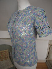 Vitage Retro Hand made cotton floral lace knit top cardigan rainbow colour S New