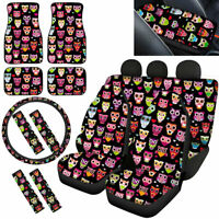Cute Owl Car Seat Covers Full Set Combo with Floor Mats Steering Wheel Cover