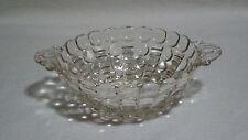 Vintage Glass Candy Nut Dish Double Handles Thumb Nail Rim Circle Step Patterns
