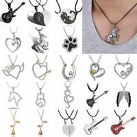 Couple Women Men Cat Map Heart Love Horse Pendant Necklace Chain Jewelry Gifts