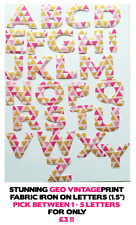 "Iron On Letters (Fabric) - Geometric Vintage - 1.5"" Cotton 1-5 Letters for £3!!"