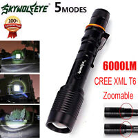 6000LM Skywolfeye Black Tactical Zoomable CREE XML T6 LED Flashlight Torch free
