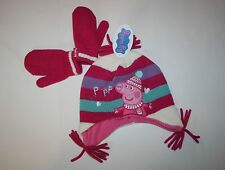 New Peppa Pig Winter Hat & Mittens Set size 1 2 Year NWT Fleece Lined Hat