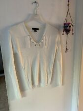 Atmosphere - Cream Lace Up Knitted Jumper Top - 10