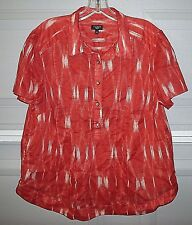 Ladies Orange Print Gauze Overblouse from Talbots ~ Size 1X