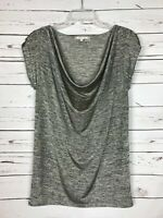 Soft Joie Gray Space Dye Cowl Neck Short Sleeves Top Shirt Tee ~ Women's S Small