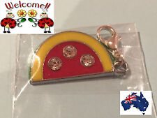 WATERMELON WITH 3 RHINESTONES CLIP ON CHARM SILVER PLATED GREAT VALUE AUS 15W
