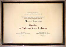 🌓 LOUISE CONTE Diplôme Chevalier des Arts et des Lettres signé ANDRÉ MALRAUX