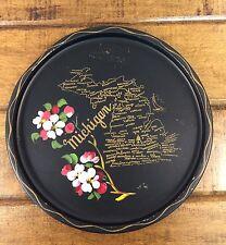 "Vintage Nashco Toleware Hand Painted Michigan Black Round 11"" Souvenir Tray"