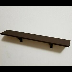 "12"" x 2"" Dark Brown Wall Shelf Uses 3M Removable Command Strips Easy to Install"