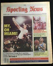 MIAMI HURRICANES 1987 NATIONAL CHAMPIONS NO LABEL SPORTING NEWS ORANGE BOWL