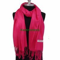NEW Women Soft PASHMINA Cashmere SILK Classic Solid Shawl Scarf Hot Pink #W01