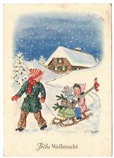 Künstler Ak Kinder mit Schlitten & Geschenken Ewene signiert 1953 DDR !