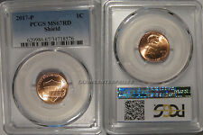 2017 P Lincoln SHIELD Cent 1c PCGS MS67RD
