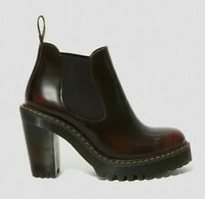 NEW!! DR MARTENS HURSTON LEATHER HEELED BOOTS CHERRY RED SIZE UK 7