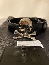 Philipp Plein Skull leather mens belt